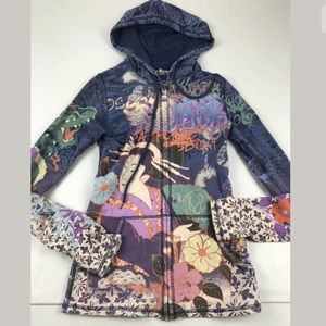Lucky Brand Asian Geisha XS Zip Hoodie Dragon